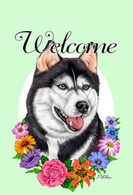 Garden Indoor/Outdoor Welcome Flag (Flowers) - Siberian Husky 630381