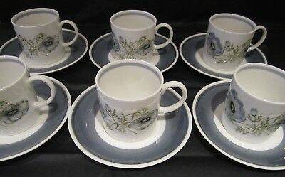 A Set Of Six Susie Cooper 'Glen Mist' Coffee Cups & Saucers