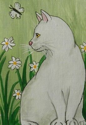 CAT ACEO White Kitty,flowers & Butterfly  - by Pryjmak