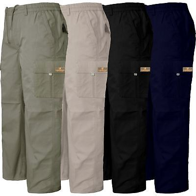 Mens Cargo Elasticated Waist Pants Trousers Casual Combat Work Quality Bottoms