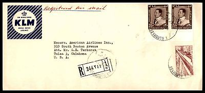 Klm  Royal Dutch Airlines Beirut Jun 4 1960 Registered Air Mail Ad Cover To Tuls