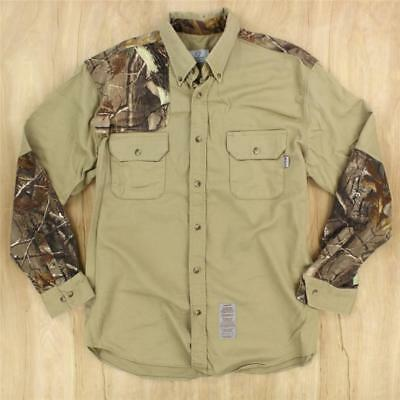 c861154eb08f usa made TYNDALE FR hrc 2 flame resistant twill work shirt XL camouflage  hunting