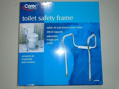 Carex B358-00 Adjustable Toilet Safety Frame - 300 lb Capacity Support Aid NEW.