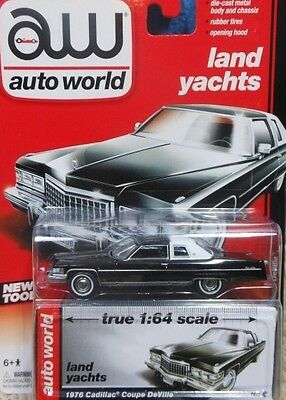 `76 Cadillac Coupe DeVille Black 1976 **RR*JL Auto World LAND YACHT 1:64 RAR