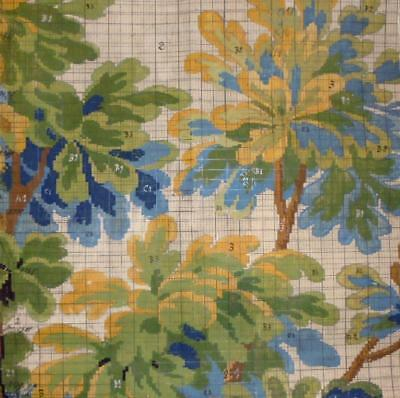 BEAUTIFUL LATE 19th CENTURY ANTIQUE HAND PAINTED FRENCH FABRIC DESIGN