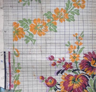 BEAUTIFUL LARGE ANTIQUE HAND PAINTED FRENCH FABRIC DESIGN CARTOON c1920s