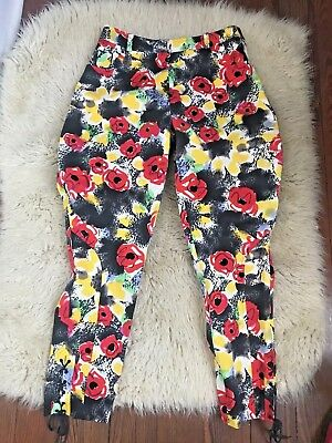 Vintage Chanel Riding Pants Floral Print High Waist Logo medium 42
