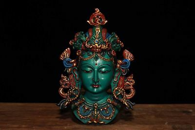 Chinese Antique Tibetan Buddhist hand painted Tara mask ornaments