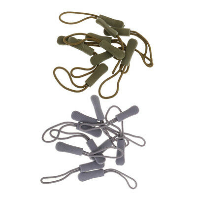 20x Non-slip Backpack Zipper Pull Cord Zip Puller Fastener Slider Grey/Green