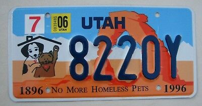 "Spay Neuter  Utah  No More Homeless Pets  License Plate "" 8220 Y "" Dog Dogs Cat"