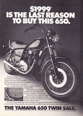 "1982 Yamaha 650 Heritage Special Motorcycle photo ""Unique Styling"" print ad"