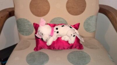 Disney Dalmation asleep on cushion soft toy - makes snoring sound when squeezed