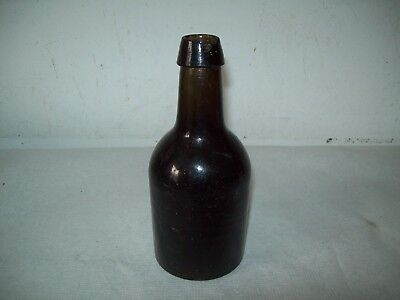 antique Stoddard NH  blown olive  glass stubby  beer bottle Dimple base