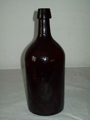 antique Stoddard NH type blown red  amber glass demijohn bottle Domed base