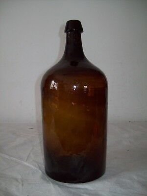 antique Stoddard NH type blown olive amber glass demijohn bottle Dimple base