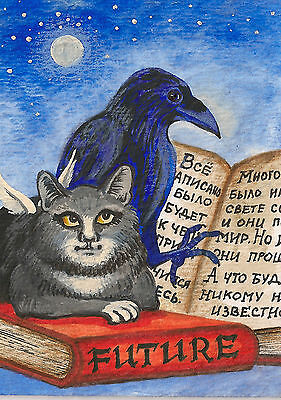 Aceo Print Of Painting Ryta Crow Raven Tuxedo Black Cat Angel Book Illustration