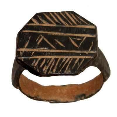 Perfect-Byzantine Bronze Ring With Geometric Designs Circa 1000 Ad