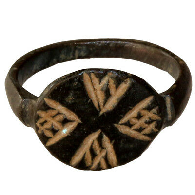 Museum Quality Byzantine Or Medieval Bronze Ring With Nice Engraved Designs