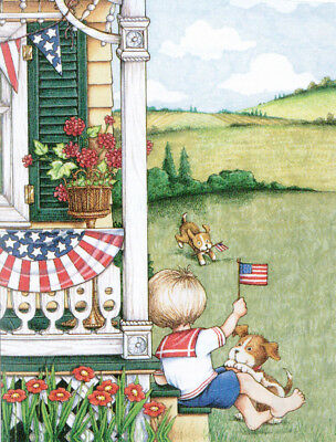 4th of July Front Porch-Handcrafted American Flag Magnet-w/Mary Engelbreit art