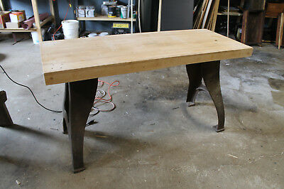 Vintage Industrial Dining Table Cast Iron Legs Butcher Block Top Unfinished  Old