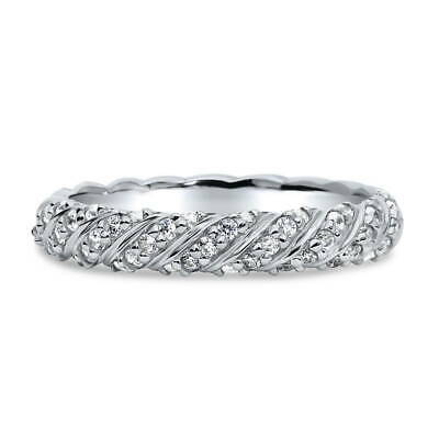 BERRICLE Sterling Silver CZ Cable Woven Wedding Half Eternity Band Ring
