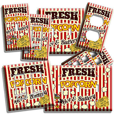 Pop Corn Tv Room Home Movie Theater Cinema Light Switch Outlet Wall Plates Decor