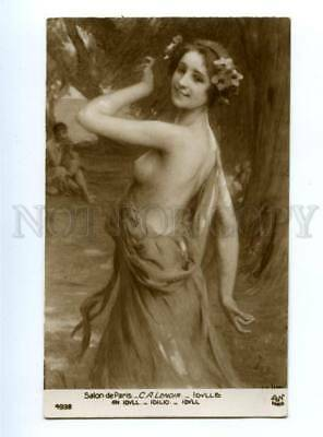 139592 ART NOUVEAU Idyll NYMPH by LENOIR vintage SALON PC