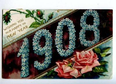 178581 USA HAPPY NEW YEAR 1908 roses embossed