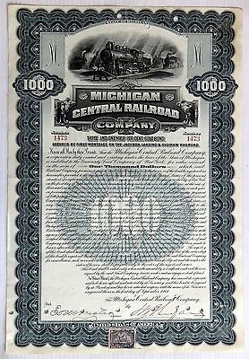 Michigan Central Railroad 1901 $1000 gold bond with 50c Revenue stamp