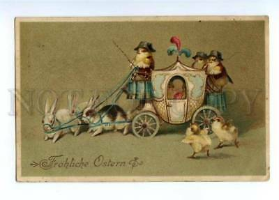 149043 EASTER Dressed CHICKEN Rabbit as Horse CARRIAGE vintage