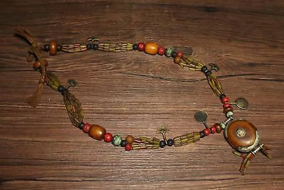 Chinese Antique Tibetan beeswax coloured glaze treasure necklace