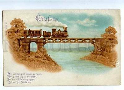 184800 GRUSS Aus TRAIN on Railway BRIDGE Vintage EMBOSSED PC