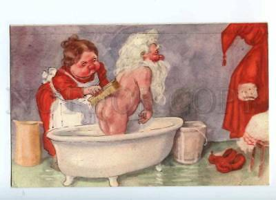 189506 Bathing Gnome SANTA CLAUS old Colorful NEW YEAR PC