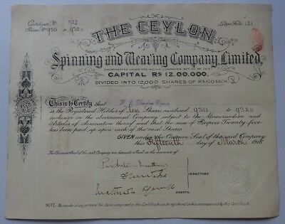 India CEYLON SPINNING & WEAVING CO LTD. 1918 share certificate