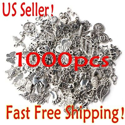 Lots 1000pcs Bulk Tibetan Silver Mix Charm Pendants Jewelry Making DIY US Seller