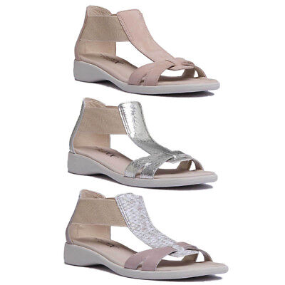 The Flexx Free Wave Women Leather Strappy Wedge Sandals In White Size UK 3-8