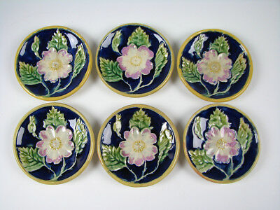 Antique English Pottery Majolica Cobalt Blue Butter Pats set of 6