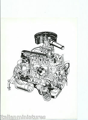 Ford Cortina 1967 Engine Original Black White Press Drawing Photograph Theo Page