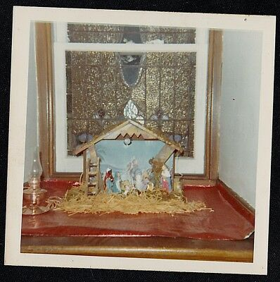 Vintage Photograph Religious Christmas Nativity Manger By Stained Glass Window
