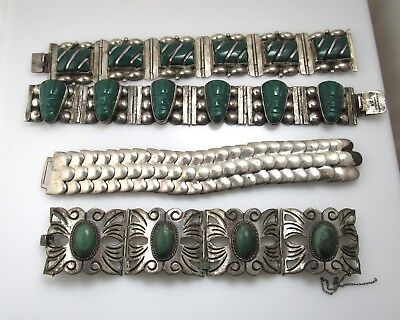 Heavy Lot Of 4 Vintage Mexican Sterling Silver Bracelets Green Stone Carved Face