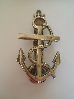 "Reclaimed Vintage Brass Nautical Theme ANCHOR & ROPE Door Knocker  5"" x 2.5"""