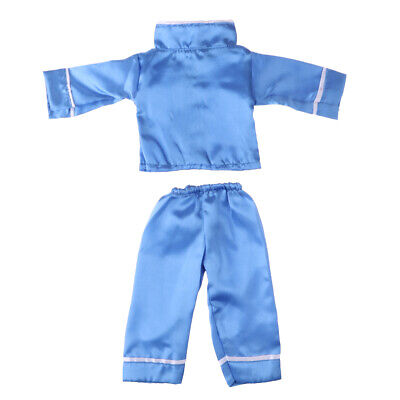 18 Inch Doll Clothes Outfit Silk Blue Nightgown Set for American Girl Dolls