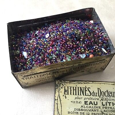 Lot Perles Verre Anciennes Rocaille 320 g NAPOLEON III Victorian Glass Pearls