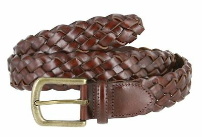 """Men's Genuine Leather Woven Braided Dress Casual Belt 1-3/8"""" Wide Black Brown"""