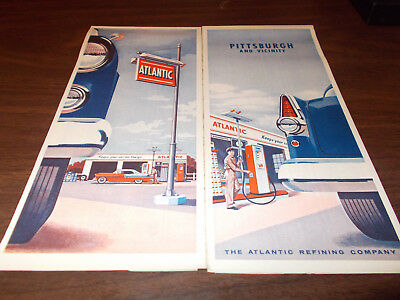 1956 Atlantic Pittsburgh and Vicinity Vintage Road Map / Nice Cover Graphics