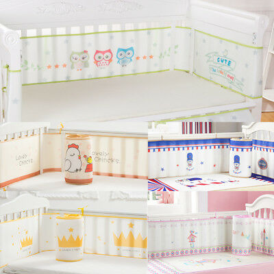 4 Sides Baby Infant Mesh Crib Bumper Cot Bed Bedding Pad Protector