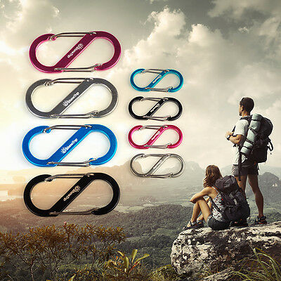 S Shape 8 Type Carabiner Key Chain Hook Clip Buckle S-biner Slide Lock Hiking