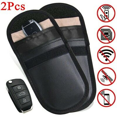 2x Lock Car Key Signal Blocker Keyless Entry Anti-Theft Fob Pouch Faraday Bags