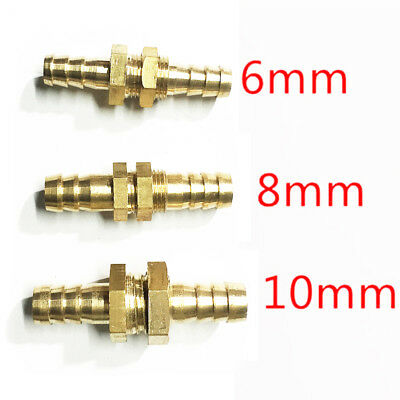 Brass Bulkhead Fitting Barb Hose Tube Connector Fuel Water Air Boat por