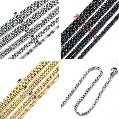 2/3/4/5/7mm Stainless Steel Women Mens Rolo Box Link Chain Necklace Bracelet Hot
